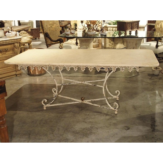 Large Antique French Iron and Marble Butcher Display Table, Circa 1915 For Sale - Image 10 of 11