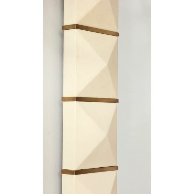 Custom Geometric Parchment Mirror With Inlaid Brass For Sale - Image 4 of 6