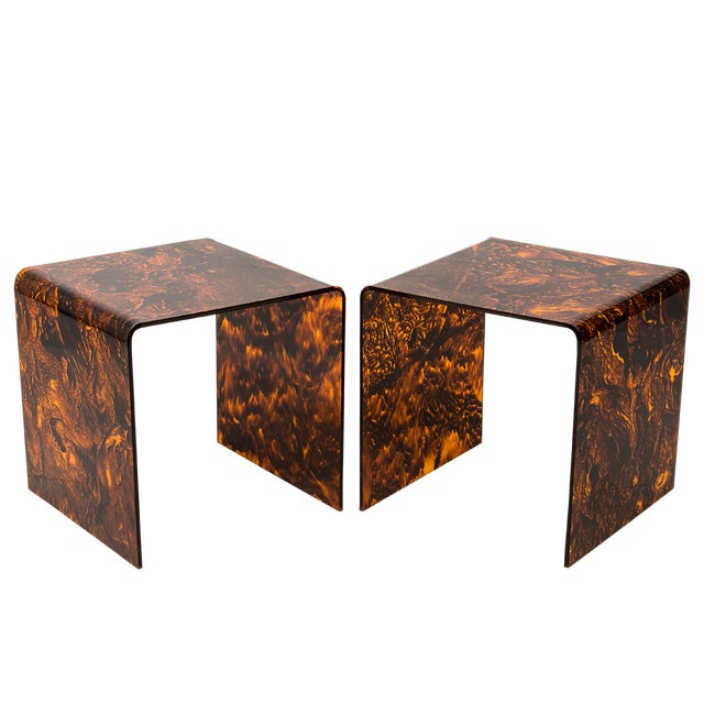 Faux Tortoise Lucite Tables For Sale - Image 13 of 13
