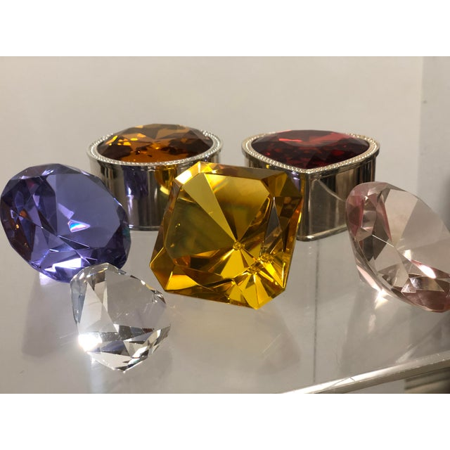 Glass Collection of Crystal Gemstone Paperweights & Boxes - Set of 6 For Sale - Image 7 of 9