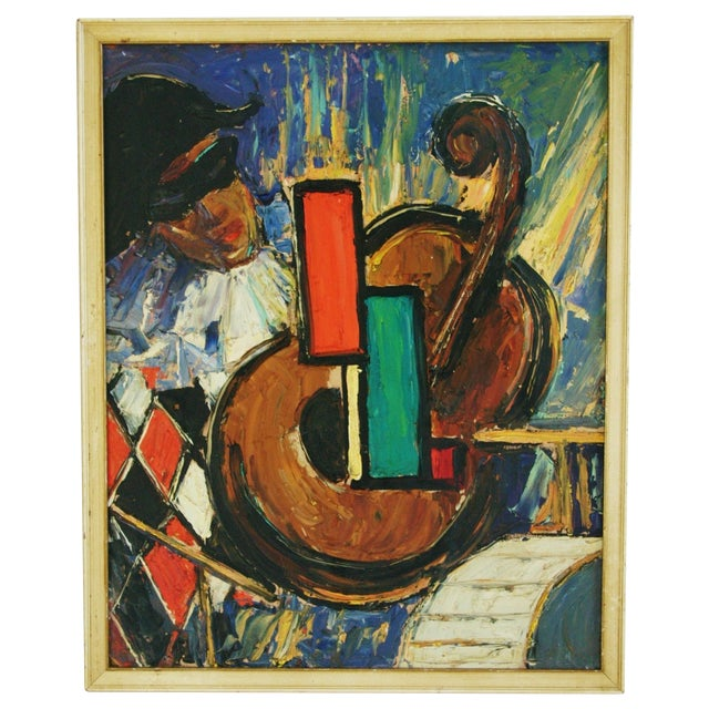 Oil Paint Mid-Century Harlequin & Cello Abstract Painting For Sale - Image 7 of 7