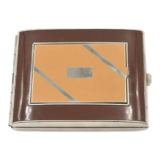Deco Enamel Compact Cigarrette Case For Sale