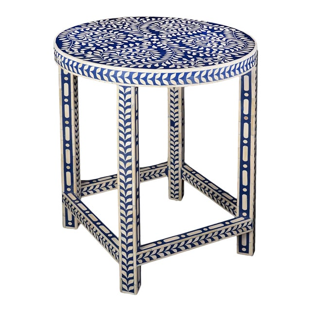 Imperial Beauty Round Table Foyer in Indigo/White For Sale