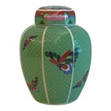 Image of Mid 20th Century Vintage Japanese Cloisonné Green Ginger Jar For Sale