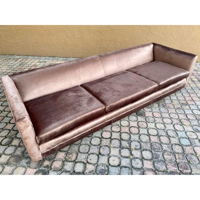 Restored Selig Tuxedo Sofa in a Velvet Brown For Sale - Image 10 of 12