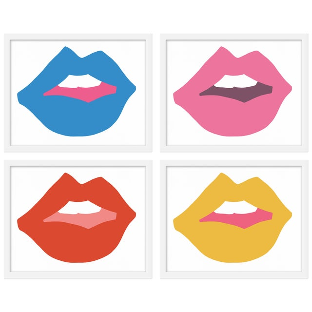 """Contemporary Medium """"Kiss Me (With Yellow)"""" Print by Angela Chrusciaki Blehm, 40"""" X 32"""" - Set of 4 For Sale - Image 3 of 3"""