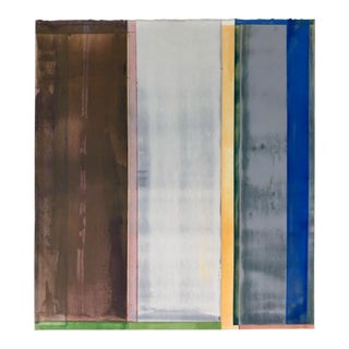 """Susan English """"Yellow L"""", Abstract Vertical Stripe Painting on Paper For Sale"""