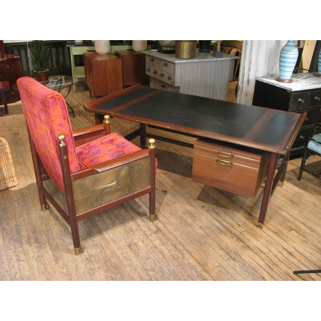 Executive Desk in Wenge & Brass by Kofod Larsen For Sale - Image 10 of 12