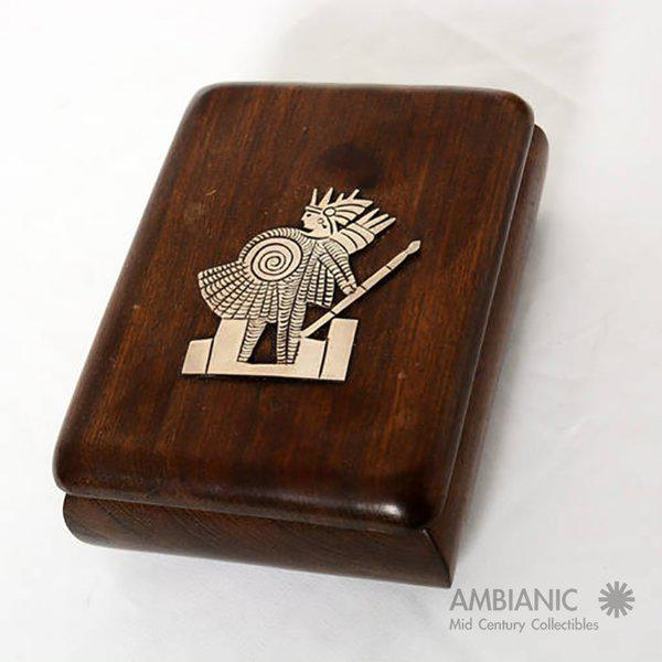 Brown Mahogany With Silver Emblem Jewelry Box For Sale - Image 8 of 10