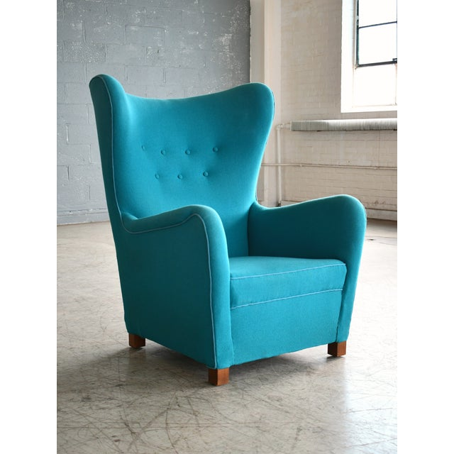 Fritz Hansen Model 1672 High Back Lounge Chair Danish Mid-Century, 1940s For Sale - Image 11 of 11