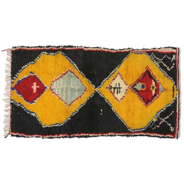 Berber Tribes of Morocco Late 20th Century Vintage Berber Moroccan Rug - 4′1″ × 7′10″ For Sale - Image 4 of 5