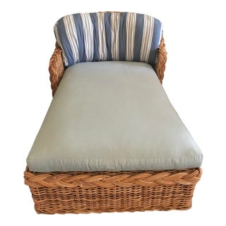 Vintage Wicker Chaise Lounge For Sale