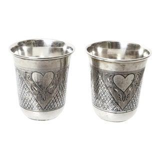 Russian Silver Niello Heart Motif Cups - a Pair For Sale