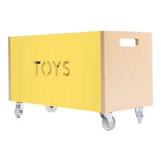 Toy Box Chest on Casters in Birch With Yellow Finish For Sale