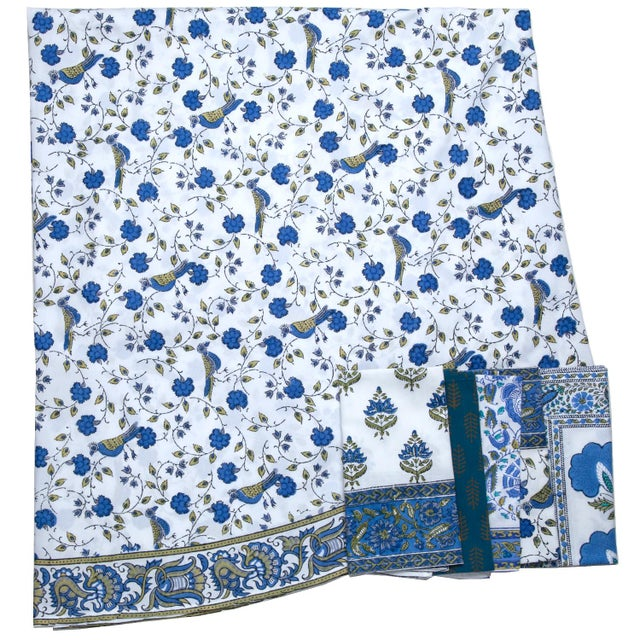 Contemporary Birds On Vine Round Tablecloth - Blue For Sale - Image 3 of 4