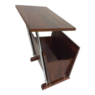 Mid Century Modern Rosewood and Chrome Magazine Rack For Sale