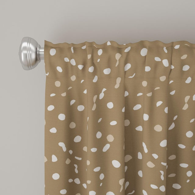 """Contemporary 96"""" Curtain in Camel Dot by Angela Chrusciaki Blehm for Chairish For Sale - Image 3 of 5"""