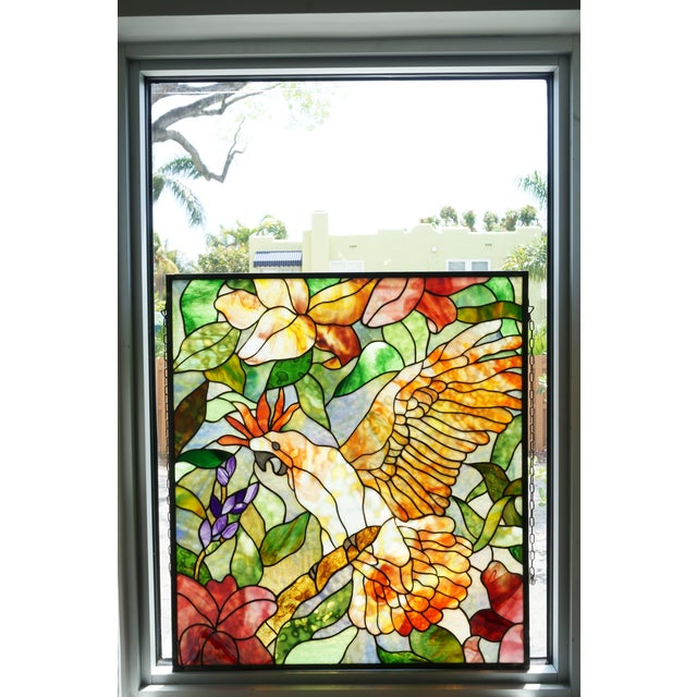 Contemporary Vintage Abraham '94 Stained Glass Window Decoration of a Tropical Cockatoo For Sale - Image 3 of 13