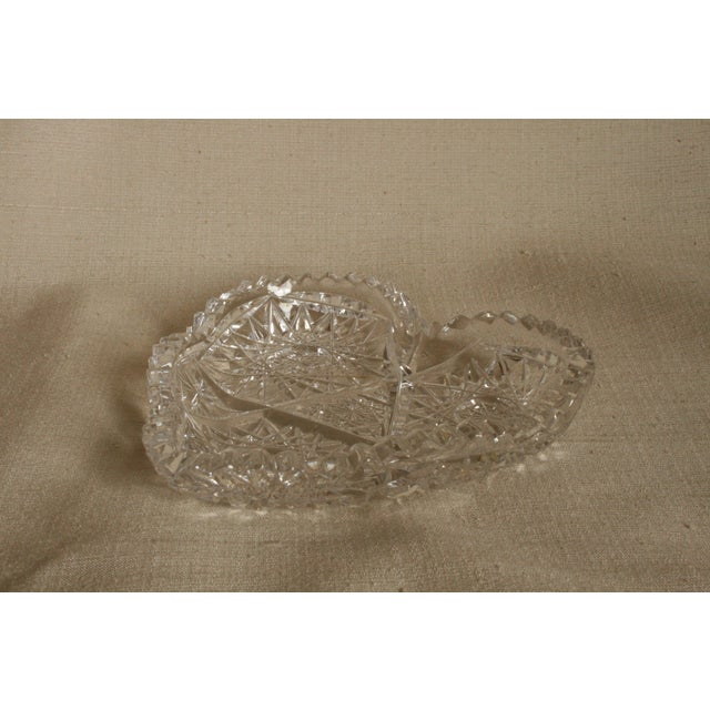 Mid-Century Modern Vintage Heart-Shaped Lead Crystal Ashtray/Trinket Tray For Sale - Image 3 of 7