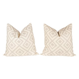 Light Gray David Hicks Fiorentina Pillows - A Pair For Sale