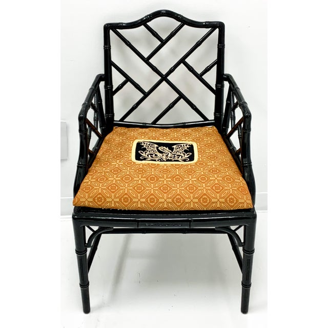 1970s Chinese Chippendale Style Faux Bamboo Arm Chair For Sale - Image 5 of 6