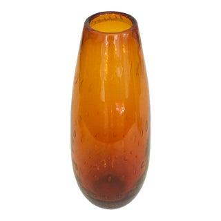 1960s Amber Bubble Bullicante Murano Art Glass Vase For Sale