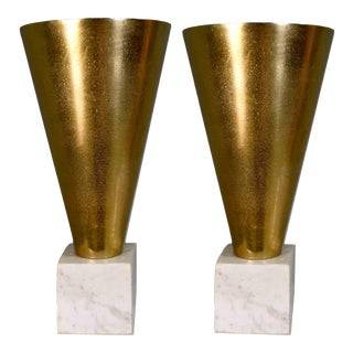 Contemporary Geometric Cast Gold Cone Vase on Marble Base - a Pair For Sale