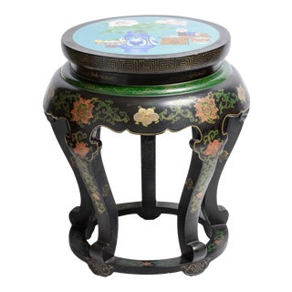 Antique Large Asian Lacquered Stool With Cloisonné Top, C1890 For Sale