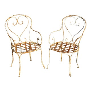 Early 20th Century Antique French Country Wrought Iron Arm Chairs- A Pair For Sale