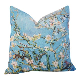 Van Gogh Inspired Cherry Blossom Linen Feather/Down Accent Pillow For Sale
