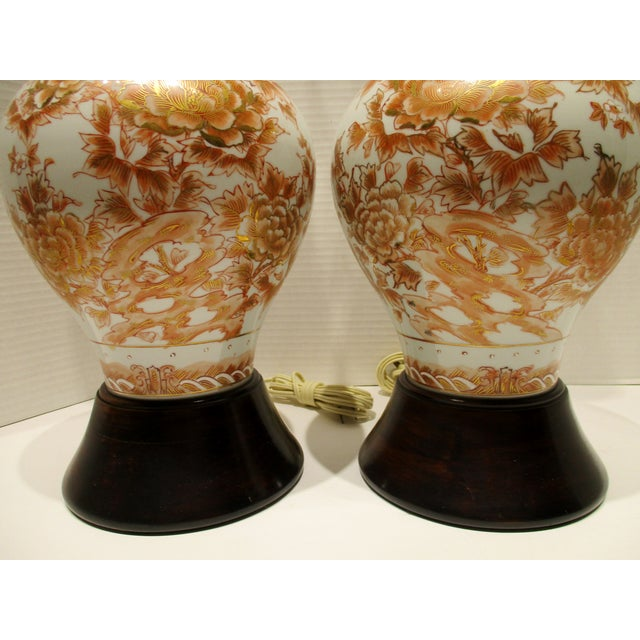 Japanese Large 1950s Japanese Hand Painted Porcelain Vases Mounted as Lamps - a Pair For Sale - Image 3 of 11