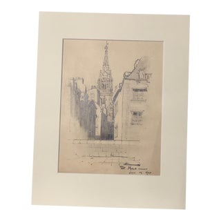 1920s Vintage Walter E. Church St. Malo French Landscape Pencil Drawing For Sale