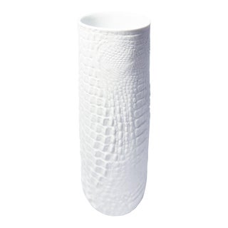 White Modernist Bisque Porcelain Vase with Crocodile Texture by A.K. Kaiser For Sale