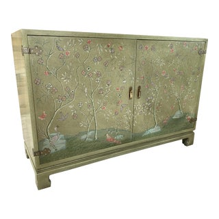 John Widdicomb Chinoiserie Ming Painted Cabinet For Sale