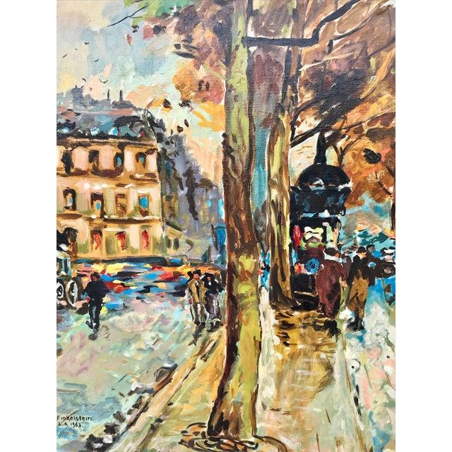 1960s 1960s Vintage Bridge, Street, Seine River - France Oil Painting For Sale - Image 5 of 9