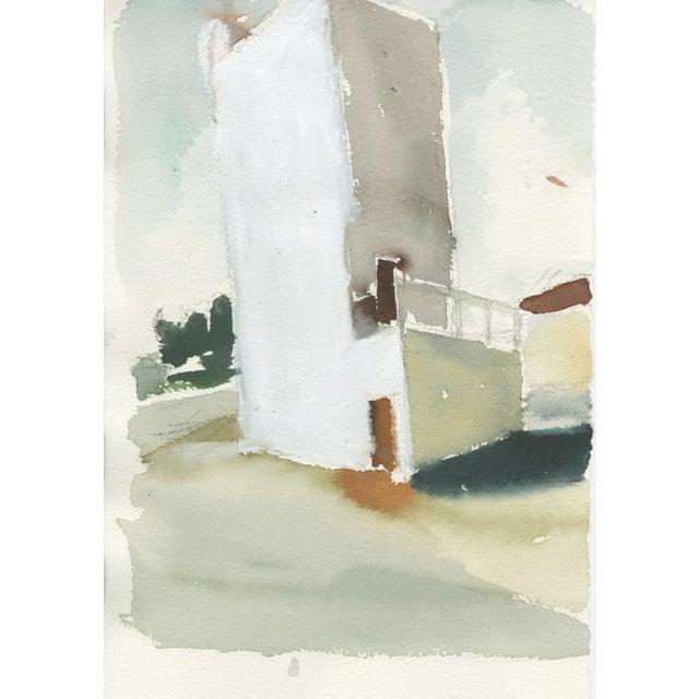 "Ferdinanda Florence Ferdinanda Florence ""VFD #3"" Industrial Landscape Watercolor Painting on Paper For Sale - Image 4 of 4"