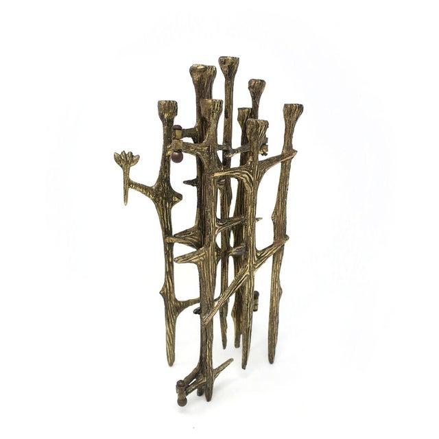1970s Brutalist Brass Candleholder For Sale - Image 5 of 9
