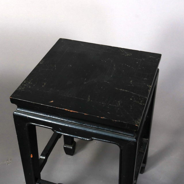 Vintage Black Lacquered Chinese Side Stands, 20th Century - Set of 4 For Sale - Image 6 of 13