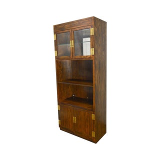 Henredon Scene 1 Collection Vintage Campaign Style Bookcase Curio Cabinet For Sale
