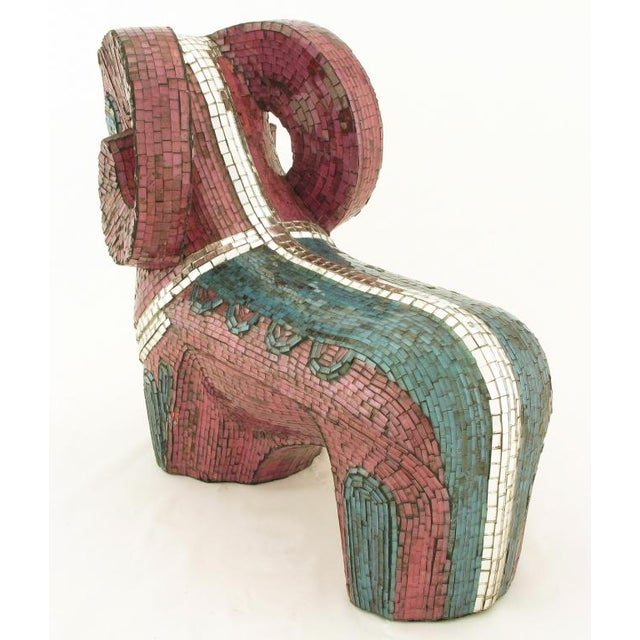 Abstract Ram Sculpture Clad In Miniature Glass Mosaic For Sale - Image 4 of 7