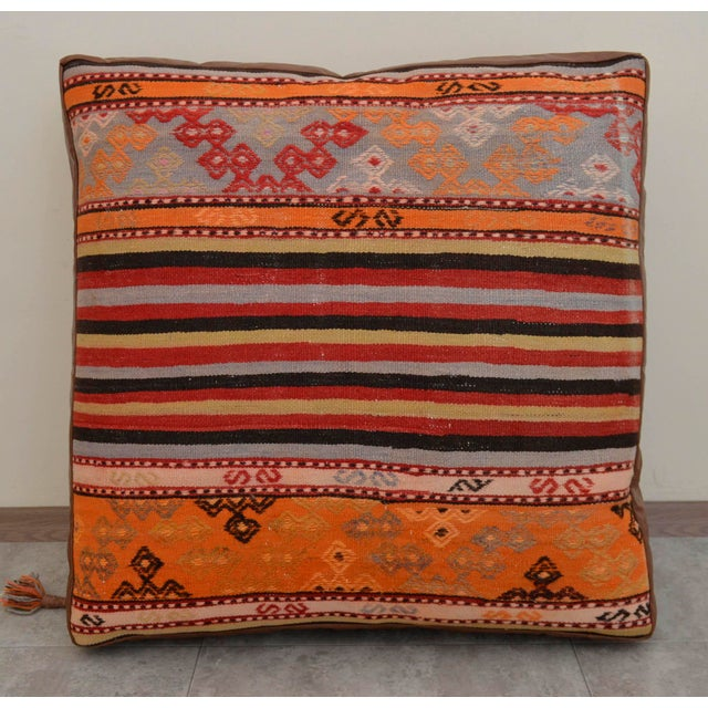 Turkish Hand Woven Floor Cushion Cover - 30″ X 30″ - Image 7 of 11