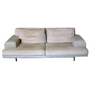 Gray Leather & Velvet Loveseat For Sale