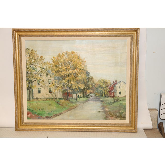 1940s Vintage Walter Emerson Baum Milford Square Painting For Sale - Image 4 of 4