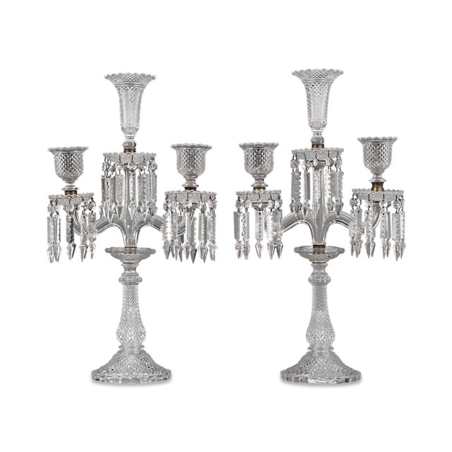 This pair of Baccarat three-light candelabra is crafted from some of the most dazzling crystal ever made. Brilliantly...