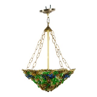 Colorful Art Nouveau Style Art Glass and Brass Chandelier For Sale