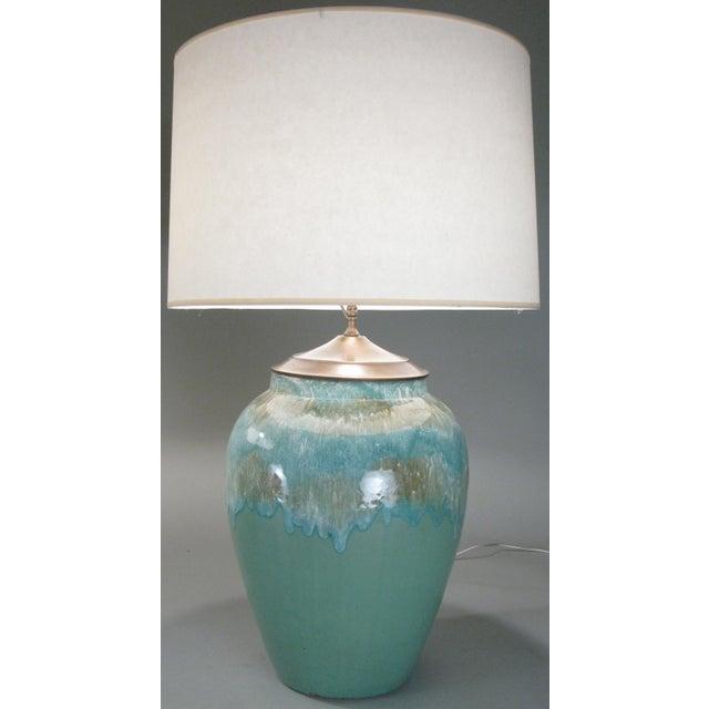 Art Nouveau Large 1960s Glazed Ceramic Lamps - a Pair For Sale - Image 3 of 7