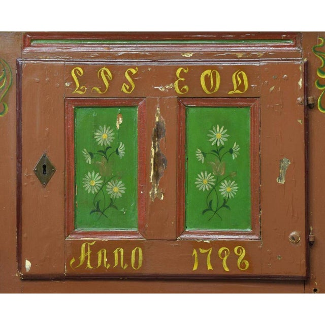 Country 18th Century Swedish Country Pine Painted Cupboard For Sale - Image 3 of 5