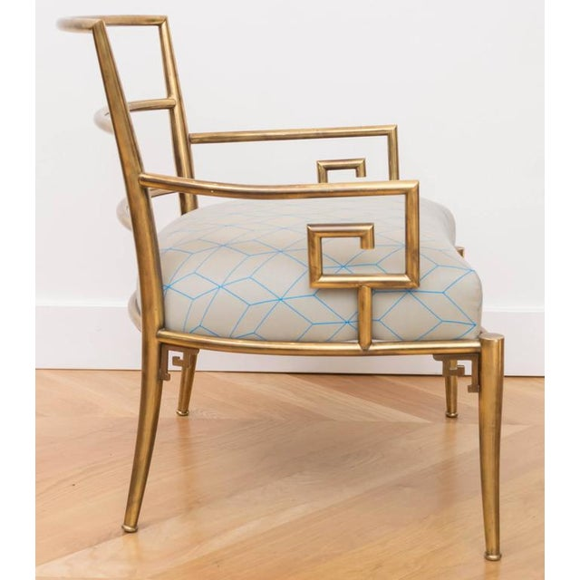 Brass Italian Greek Key Armchair - Image 3 of 6
