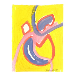 Yellow Original Abstract on Paper For Sale