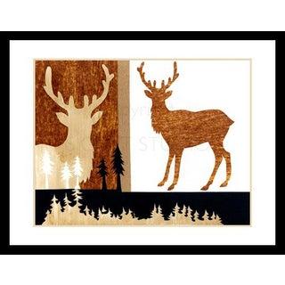 Original Mixed Media Woodland Elk Collage by Kathleen Ney, Framed For Sale